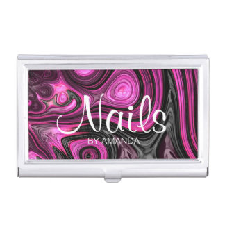 Nails Nail Artist Pedicure NailArt Purple Black Business Card Holder