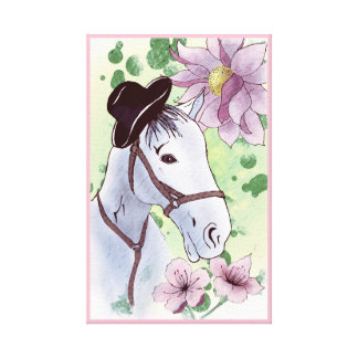 NAIVE HORSE ART. GIRLY HORSE, PINK FLOWERS AND HAT CANVAS PRINT