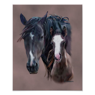 Nakota Mare and Foal Poster
