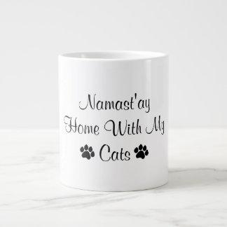 Namast'ay Home With My Cats Large Coffee Mug
