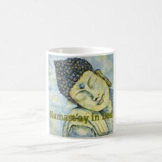 Namast'ay in Bed Buddha Watercolor Art Coffee Mug