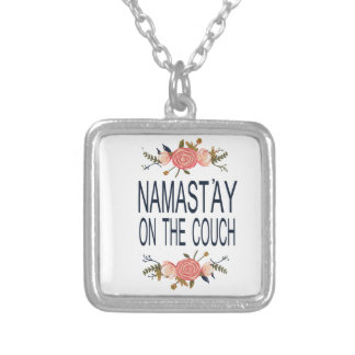NAMASTAY ON THE COUCH Funny Silver Plated Necklace