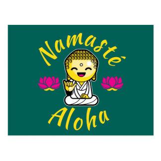 Namaste Aloha hand sign Buddha Humour Postcard
