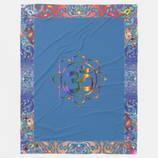 Namaste Aum Om & Lotus with Rainbow Vintage Border Fleece Blanket