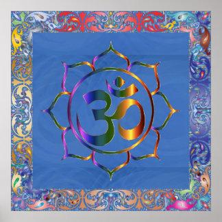 Namaste Aum Om & Lotus with Rainbow Vintage Border Poster