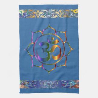 Namaste Aum Om Lotus with Rainbow Vintage Border Tea Towel