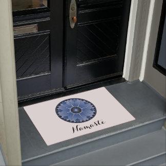 NAMASTE Blue Flower Spiritual Lotus Mandala White Doormat