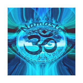 Namaste Blue Glow Stretched Canvas Print