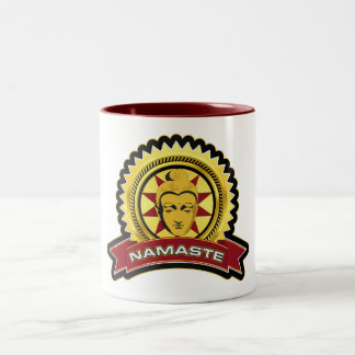 Namaste Buddha Logo Two-Tone Coffee Mug