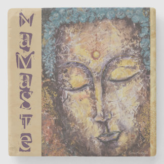 Namaste Buddha Watercolor Art Stone Coaster
