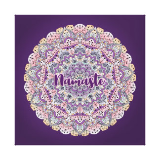 Namaste Cute pink and purple floral mandala Canvas Print