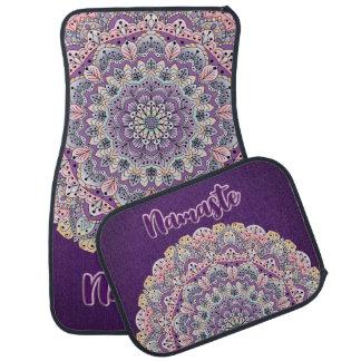 Namaste Cute pink and purple floral mandala Car Mat