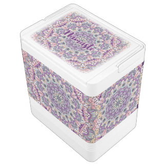 Namaste Cute pink and purple floral mandala Cooler
