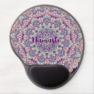 Namaste Cute pink and purple floral mandala Gel Mouse Pad