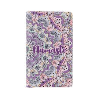 Namaste Cute pink and purple floral mandala Large Moleskine Notebook