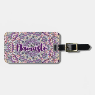 Namaste Cute pink and purple floral mandala Luggage Tag