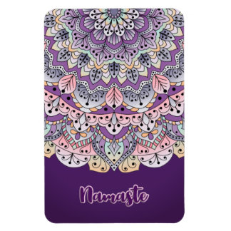 Namaste Cute pink and purple floral mandala Magnet