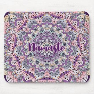 Namaste Cute pink and purple floral mandala Mouse Pad