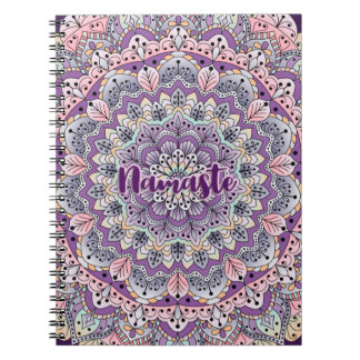 Namaste Cute pink and purple floral mandala Notebooks