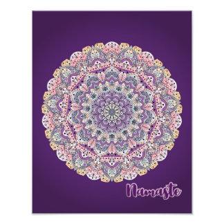 Namaste Cute pink and purple floral mandala Photo Print