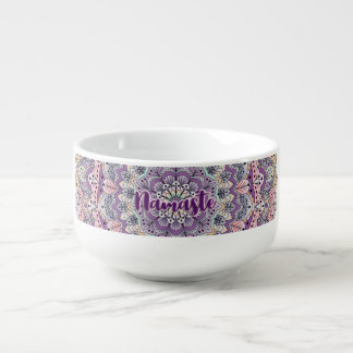 Namaste Cute pink and purple floral mandala Soup Mug