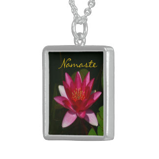 NAMASTE-DEEP ROSE PINK LOTUS BLOSSOM PHOTOG CUSTOM NECKLACE