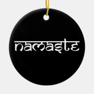 Namaste Design on Sanskrit Style Round Ceramic Decoration