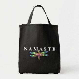 Namaste Dragonfly (Dark Background) Tote Bag