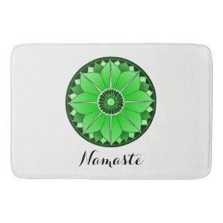 NAMASTE Flower Spiritual Green Lotus Mandala White Bath Mat