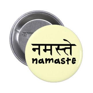 Namaste in English and Hindi 6 Cm Round Badge