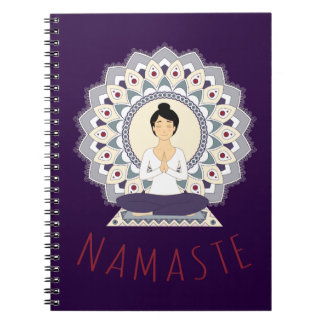 Namaste in Lotus Pose - Yoga Asana Woman Notebook