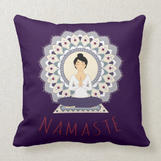 Namaste in Lotus Pose - Yoga Asana Woman Pillow