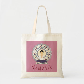 Namaste in Lotus Pose - Yoga Asana Woman Tote bag