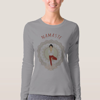 Namaste in Tree Pose - Yoga Asana Long Sleeve T-Shirt