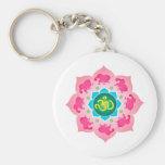 Namaste Lotus Flower Om Yoga Keychain