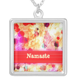 Namaste on Beautiful Red Patterned Necklace