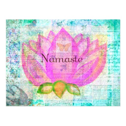 Namaste PINK LOTUS Peaceful Art Post Cards