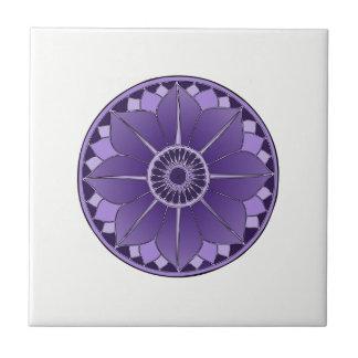 NAMASTE Purple Flower Spiritual Lotus Mandala Ceramic Tile