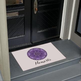 NAMASTE PurpleFlower Spiritual Lotus Mandala White Doormat