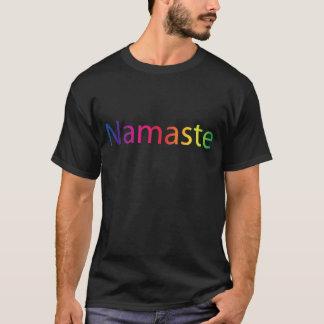 Namaste Rainbow Men's Cotton Yoga Black T-Shirt