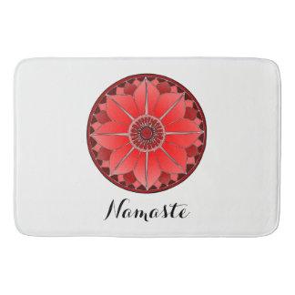 NAMASTE Red Flower Spiritual Lotus Mandala Bath Mat