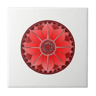NAMASTE Red Flower Spiritual Lotus Mandala Ceramic Tile