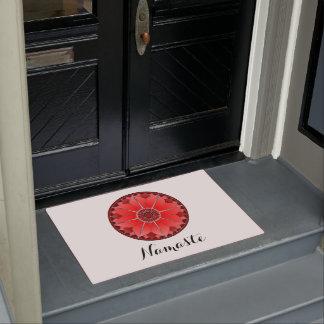 NAMASTE Red Flower Spiritual Lotus Mandala White Doormat