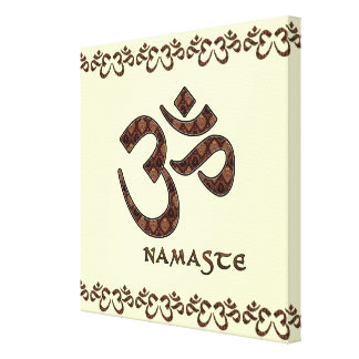 Namaste with Om Symbol Brown and Cream Canvas Print
