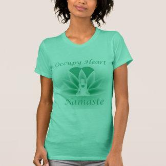 Namaste Yoga Lotus Woman Flower Occupy Heart T-Shirt