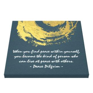 Namaste Yoga Meditation Quotes Blue Gold ZEN Sign Canvas Print