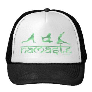 Namaste yoga poses green cap