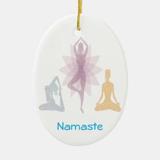 Namaste,yoga,yogi,women,chakra,chi,spiritual,zen Double-Sided Oval Ceramic Christmas Ornament