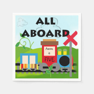 Name Age All Aboard Train Birthday Paper Napkins Paper Napkin
