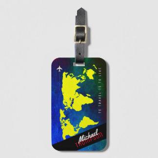 name & airplane on yellow worldmap luggage tag